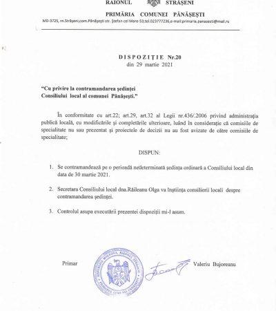 Cu privire la contramandarea ședinței Consiliului din 30.03.2021