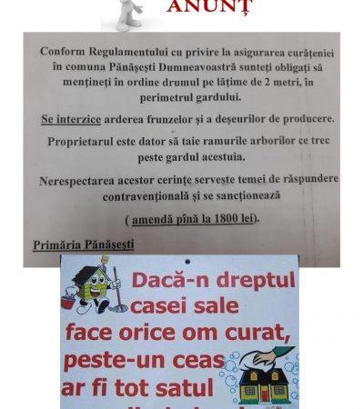 Stimați locuitori a comunei  Pănășești, Vă îndemnăm să vă implicați pentru a avea o localitate curată și  bine amenajată!